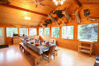 dining room at the Angry Eagle Lodge
